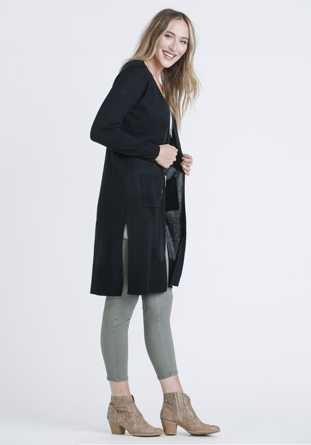 Women's Mid-Length Cardigan, BLACK, hi-res