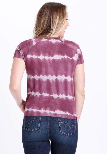 Women's Tie Dye Tie Front Tee, AMETHYST, hi-res