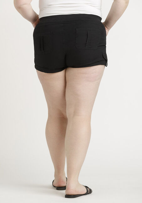 Women's Plus Knit Waist Poplin Cuffed Short, BLACK, hi-res