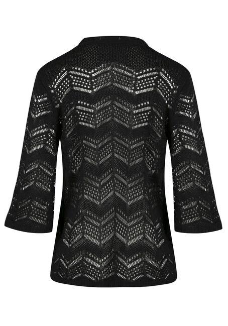 Ladies' Bell Sleeve Pointelle Cardigan, BLACK, hi-res