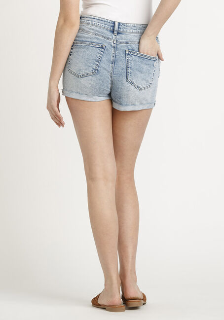 Women's High Rise Marble Wash Cuffed Short, LIGHT WASH, hi-res