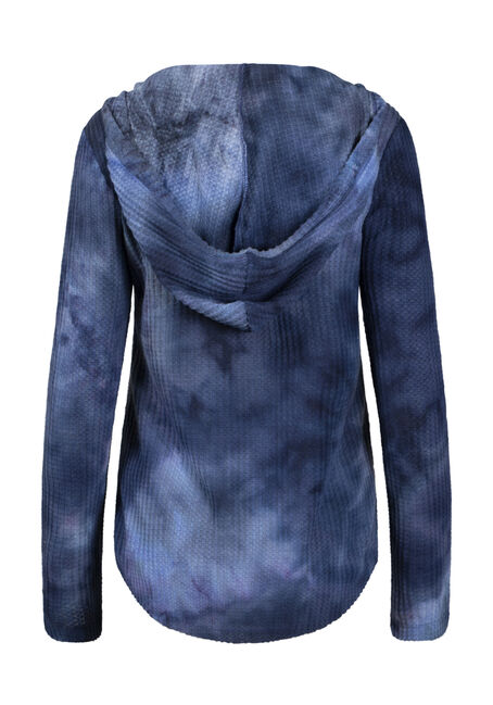 Women's Tie Dye Waffle Hoodie, BLUE, hi-res