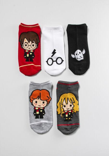 Women's 5 Pack Harry Potter Socks, RED, hi-res