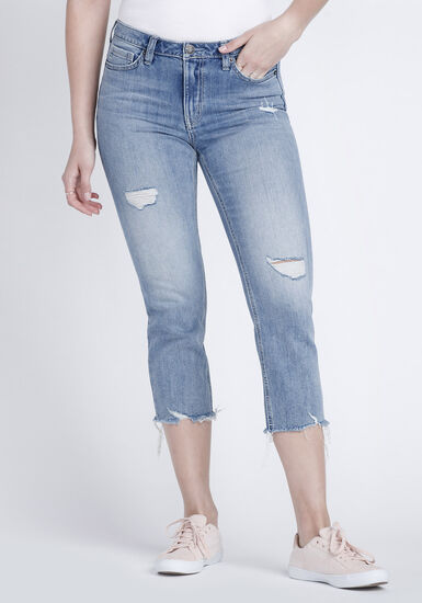 Women's Raw Hem Straight Crop Jeans, DENIM, hi-res