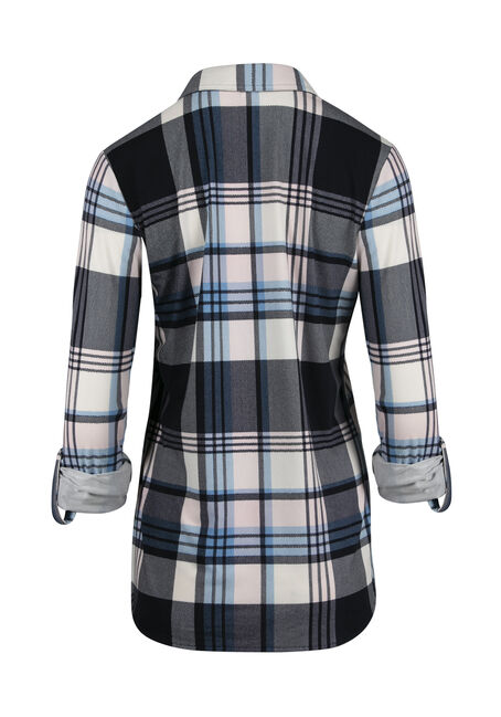 Ladies' Relaxed Fit Knit Plaid Shirt, NAVY/PINK, hi-res