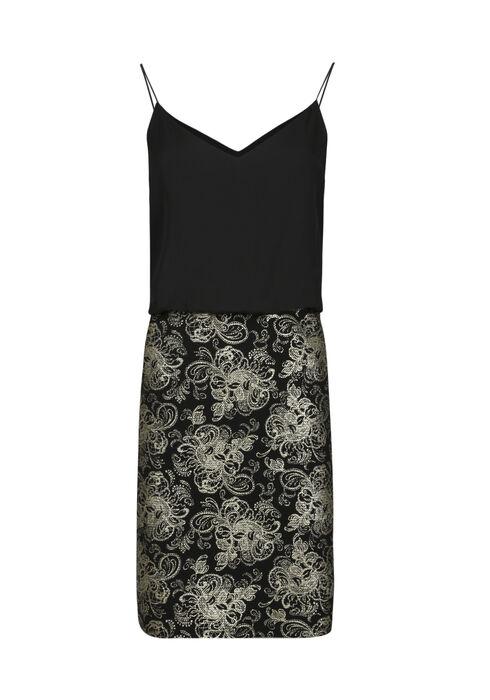 Women's Blouson Foil Print Dress, BLACK, hi-res