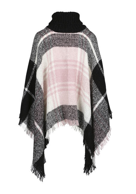 Ladies' Plaid Cowl Neck Poncho, BLK/WHT/PINK, hi-res