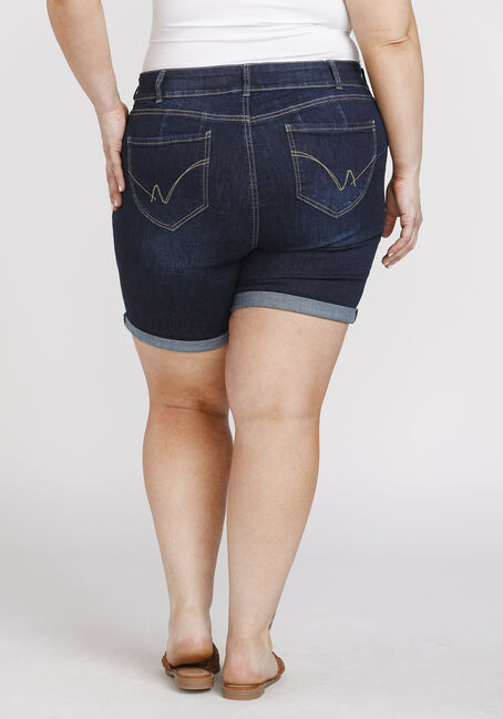 Women's Plus Size Cuffed Midi Short, DARK WASH, hi-res