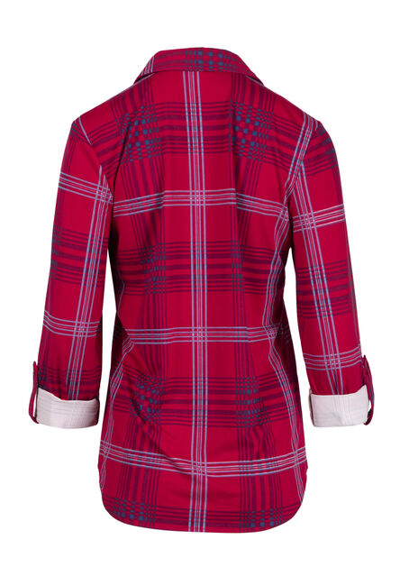 Women's Roll Sleeve Knit Plaid Shirt, CHERRY, hi-res