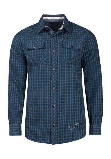 Men's Mini Check Shirt, NAVY, hi-res