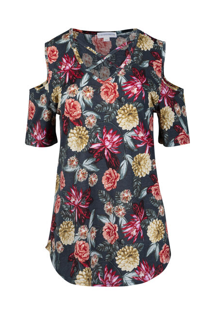 Women's Floral Cage Neck Cold Shoulder Tee