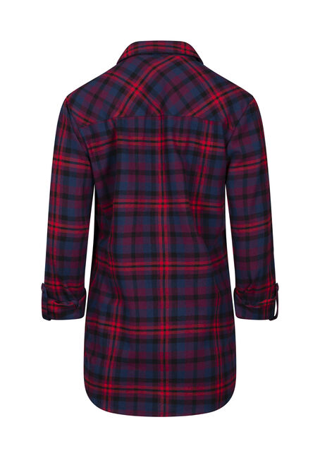 Women's Flannel Boyfriend Shirt, RED, hi-res