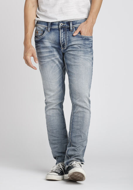 Men's Bleach Wash Straight Jeans