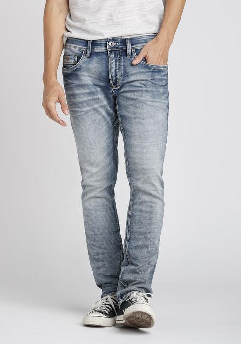Men's Bleach Wash Straight Jeans, LIGHT WASH, hi-res