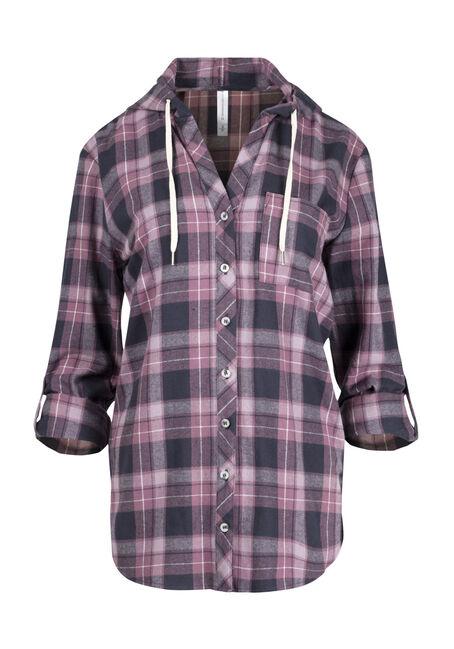 Women's Hooded Flannel Boyfriend Shirt