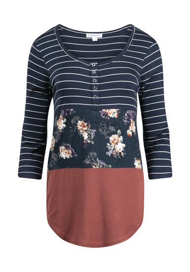 Women's Floral Colour Block Henley, BURNT ORANGE, hi-res