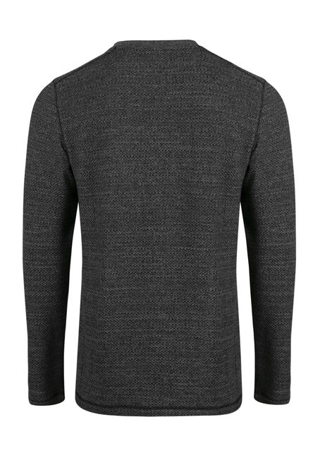 Men's Fooler Henley Sweater, CHARCOAL, hi-res