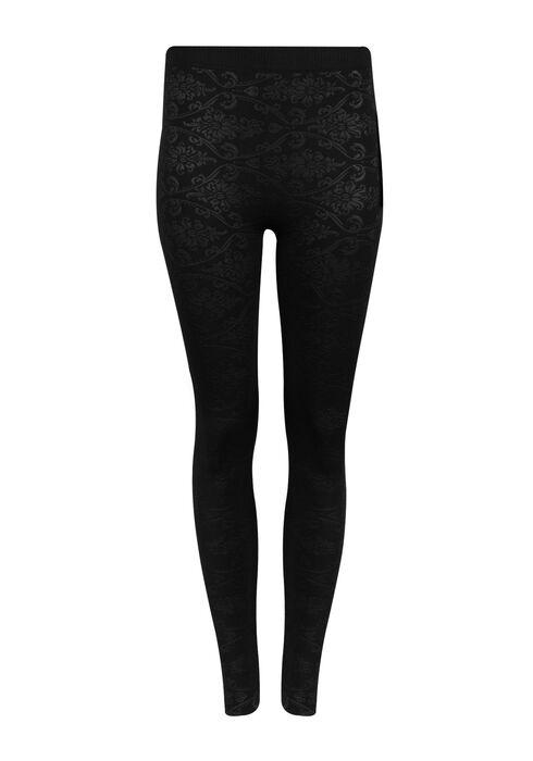 Ladies' Floral Plush Legging, BLACK, hi-res