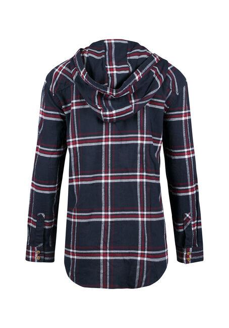 Ladies' Hooded Boyfriend Flannel Shirt, INDIGO, hi-res