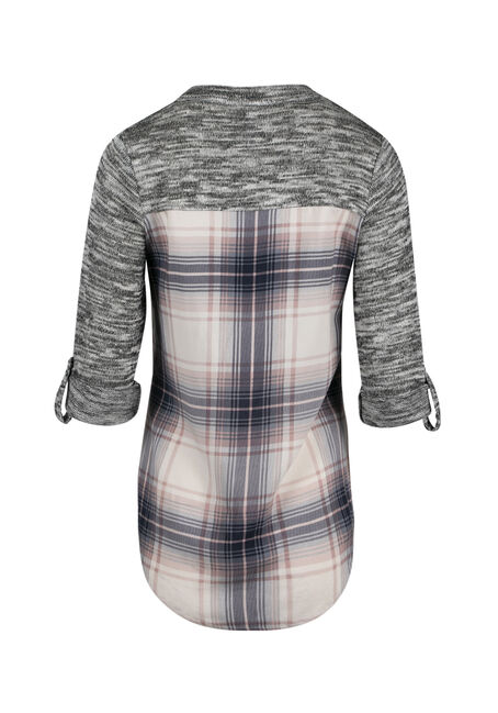 Women's Plaid Roll Sleeve Shirt, TICKLED PINK, hi-res