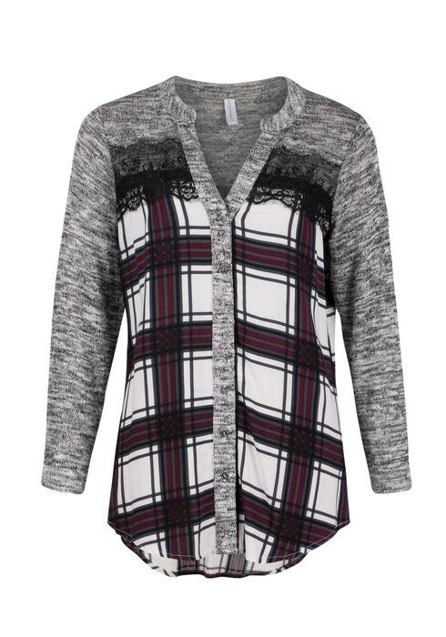 Ladies' Plaid Shirt, WINE, hi-res