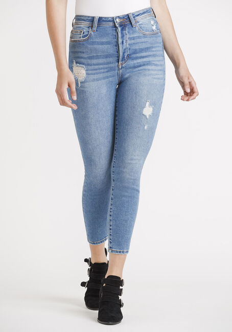 Women's High Rise Button Fly Mom Skinny