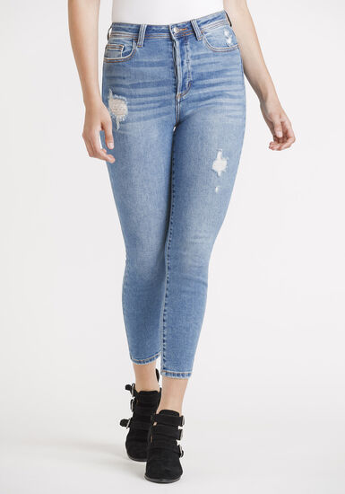 Women's High Rise Button Fly Mom Skinny Jeans, MEDIUM WASH, hi-res