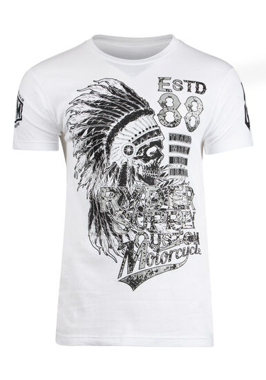 Men's Ryder Skull And Motorcycle Tee, WHITE, hi-res