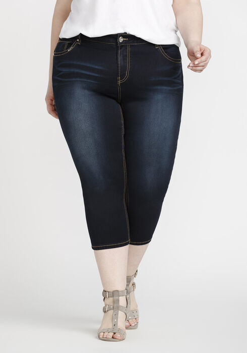 Women's Plus Size Premium Skinny Capri, DARK WASH, hi-res