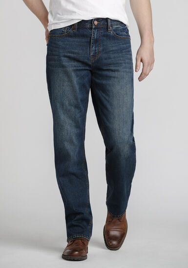 Men's Medium Blue Relaxed Straight Jeans, MEDIUM WASH, hi-res