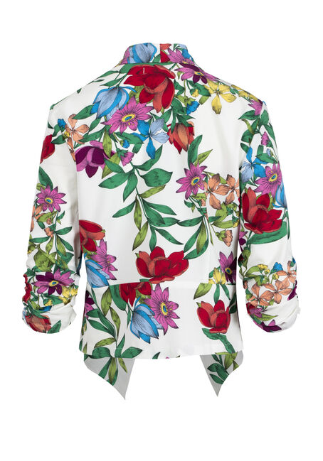 Women's Floral Cropped Blazer, WHITE, hi-res