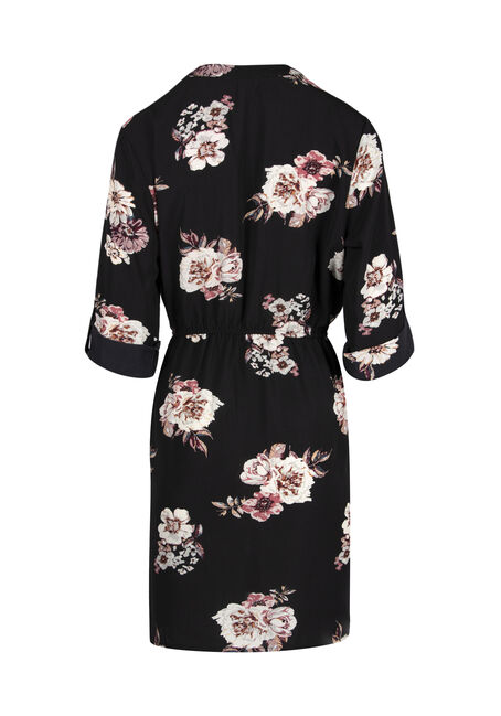 Ladies' Floral Roll Sleeve Shirt Dress, BLACK PRINT, hi-res
