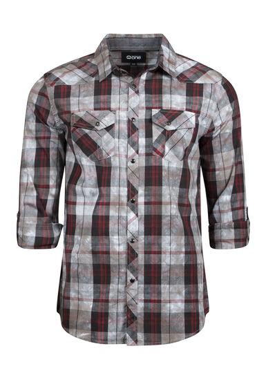 Men's Washed Plaid Shirt, BURGUNDY, hi-res