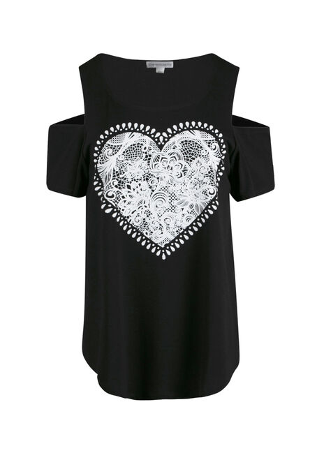 Ladies' Lace Heart Cold Shoulder Top