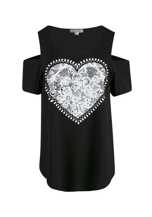 Women's Lace Heart Cold Shoulder Top, BLACK, hi-res