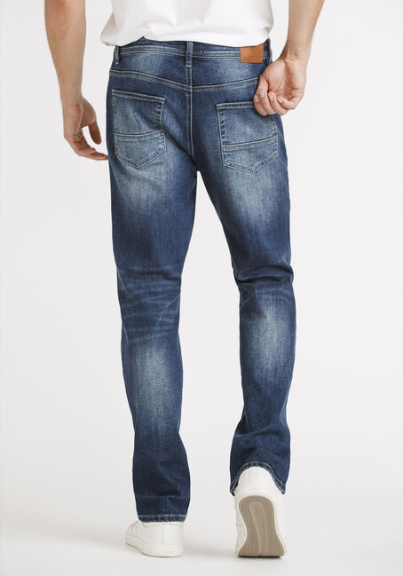 Men's Dark Blue Slim Straight Jeans, DARK WASH, hi-res