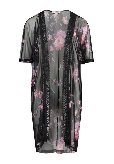 Women's Plus Size Floral Mesh Crochet Trim Kimono