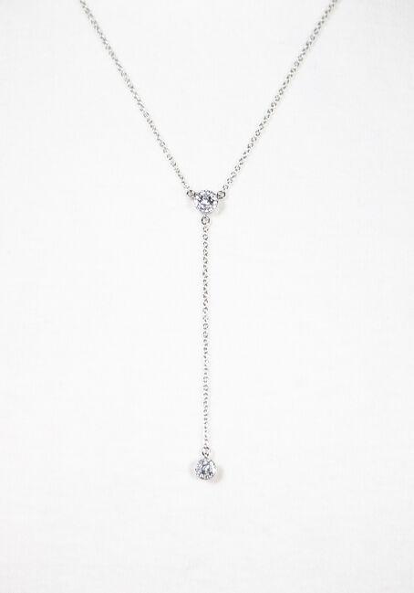 Women's Y Neck Necklace, SILVER, hi-res