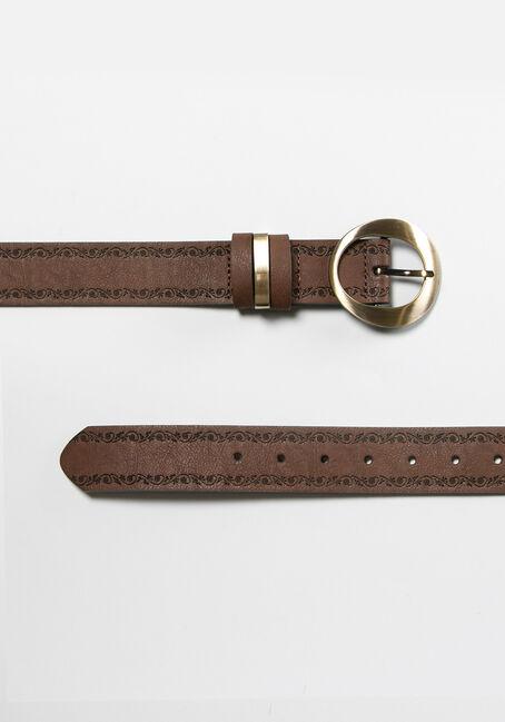 Women's Embossed Belt, BROWN, hi-res