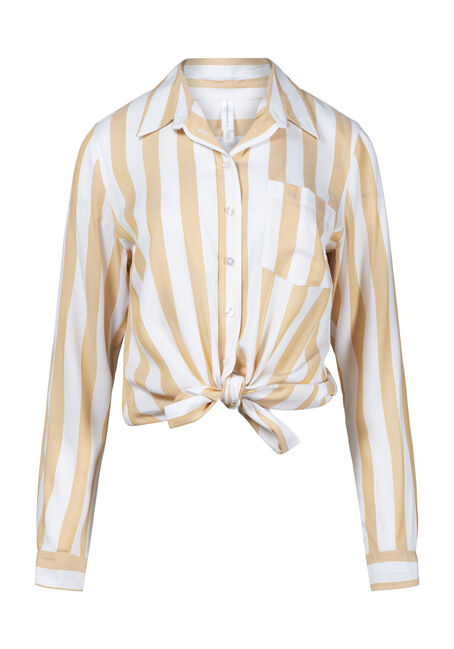 Women's Striped Tie Hem Shirt
