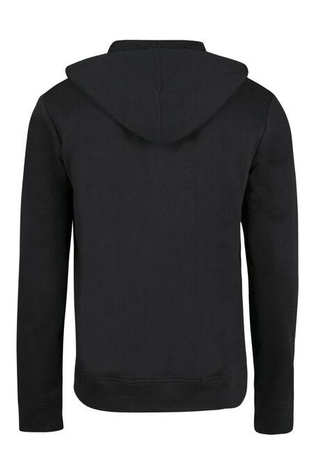 Men's Zip Front Hoodie, BLACK, hi-res