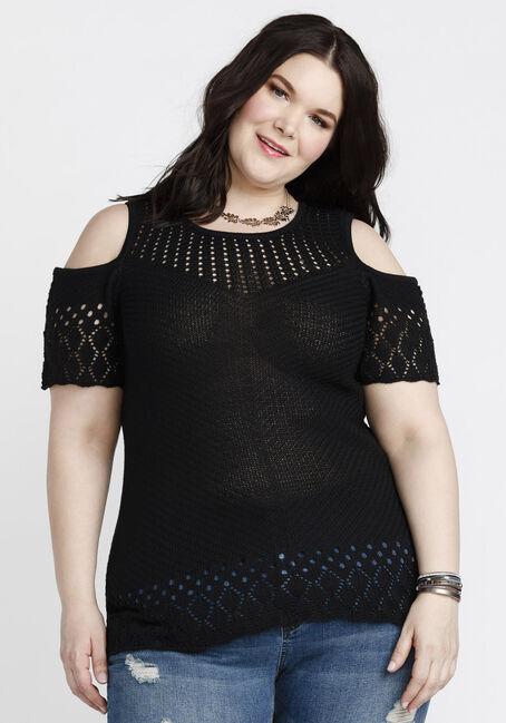 Women's Cold Shoulder Pointelle Sweater, BLACK, hi-res