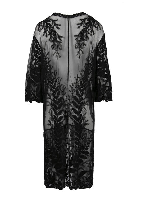 Ladies' Lace Kimono Duster, BLACK, hi-res