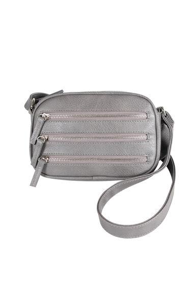 Women's Oval Triple Zipper Cross Body Bag, GREY, hi-res
