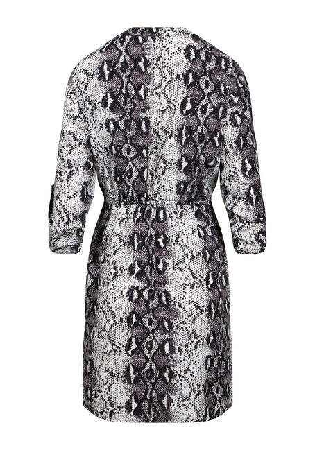 Women's Snake Print Shirt Dress, BLACK PRINT, hi-res