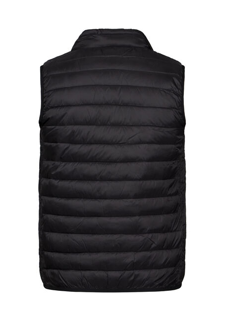 Men's Puffer Vest, BLACK, hi-res