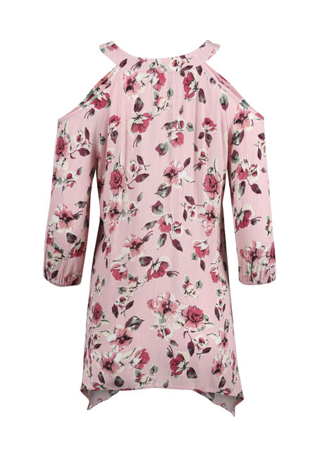 Women's Floral Cold Shoulder Top, ROSE QUARTZ, hi-res