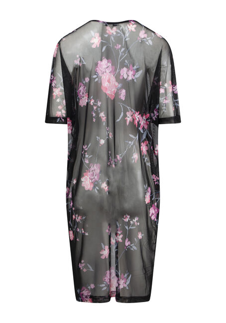 Women's Floral Mesh Crochet Trim Kimono, BLACK, hi-res