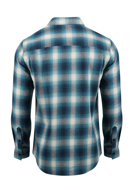 Men's Flannel Plaid Shirt, LAGOON, hi-res