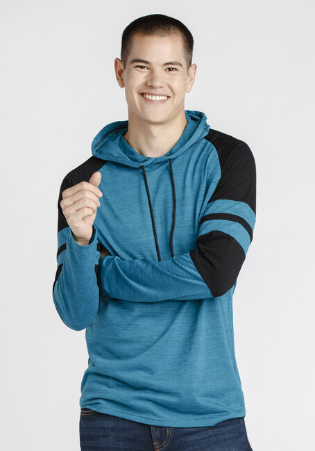 Men's Everyday Hooded Football Tee, Steel Blue, hi-res
